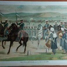 Arte: DON CARLOS REVISTANDO SUS TROPAS EN AMURRIO , 1ª GUERRA CARLISTA (CROMOLITOGRAFIA DEL AÑO 1891). Lote 57498755
