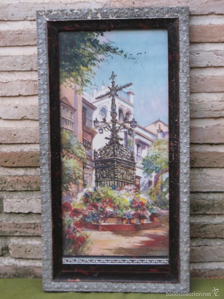 CROMOLITOGRAFIA ANTIGUA - CRUZ DE LOS FAROLES - SEVILLA. PPOS. SIGLO XX. (Arte - Cromolitografía)
