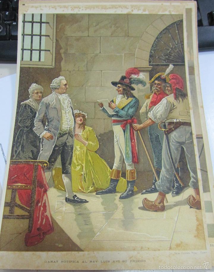 CROMOLITOGRAFIA. GARAT NOTIFICA AL REY LUIS XVI SU PRISION. LIT. FELIPE G.ROJAS. 30 X 21CM (Arte - Cromolitografía)