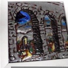 Arte: PORCELANA SOBRE AZULEJO DE LA ESCUELA SEGOVIANA, FIRMADA POR REME. MEDIDAS DEL CUADRO 15 X 15 CM. Lote 59614663