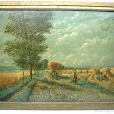 Arte: 56 CM - ANTIGUA CROMOLITOGRAFÍA 1900 ENMARCADA - PAISAJE SEGADORES COSECHA. Lote 60296403