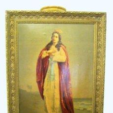 Arte: 87CM - IMPRESIONANTE ANTIGUA CROMO LITOGRAFIA C.1900 - REGINA MATER VIRGEN SANTA - MARCO DORADO. Lote 61632348