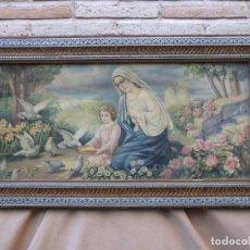 Arte: CROMOLITOGRAFIA ANTIGUA. VIRGEN MARIA Y NIÑO JESUS. MARCO Y CRISTAL.. Lote 66112958