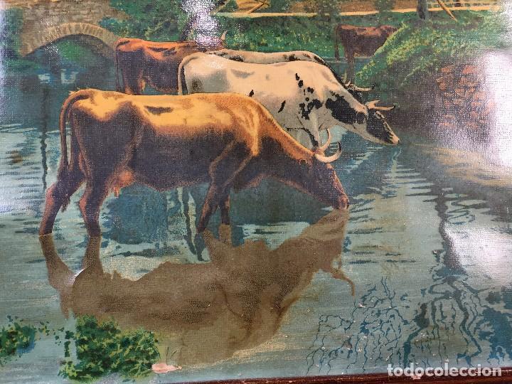 Arte: cromolitografia enmarcada vacas en el rio norte europa ppios s XX 38x47,5cms - Foto 3 - 73826783