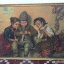Arte: CROMOLITOGRAFIA SOBRE TABLEX NIÑOS ALEMANIA COSTURA TEJER TEJIENDO 47X62CMS. Lote 74190407