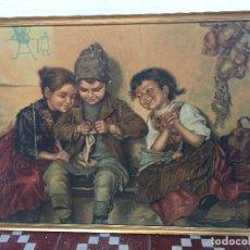 Art: CROMOLITOGRAFIA SOBRE TABLEX NIÑOS ALEMANIA COSTURA TEJER TEJIENDO 47X62CMS. Lote 74190407