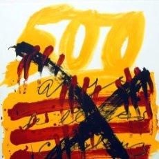 Arte: TÀPIES / CARTEL HOMENAJE A LOS 500 AÑOS LIBRO CATALÁN. FIRMADO PLANCHA. LA POLÍGRAFA * MATARÓ. Lote 27027940