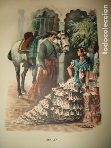 ANDALUCIA TIPOS ANDALUCES CROMOLITOGRAFIA AÑOS 40 IBARRA ILUSTRADOR (Arte - Cromolitografía)