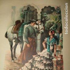 Arte: ANDALUCIA TIPOS ANDALUCES CROMOLITOGRAFIA AÑOS 40 IBARRA ILUSTRADOR. Lote 81200356