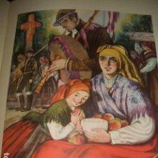 Arte: GALICIA TIPOS GALLEGOS GAITERO CROMOLITOGRAFIA AÑOS 40 DELGADO ILUSTRADOR. Lote 81209240