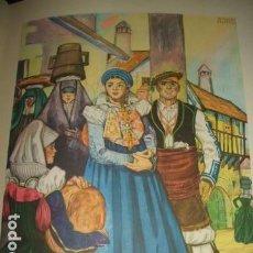 Arte: ANSO HUESCA TIPOS ANSOTANOS OFRENDA CROMOLITOGRAFIA AÑOS 40 DELGADO ILUSTRADOR. Lote 81211108