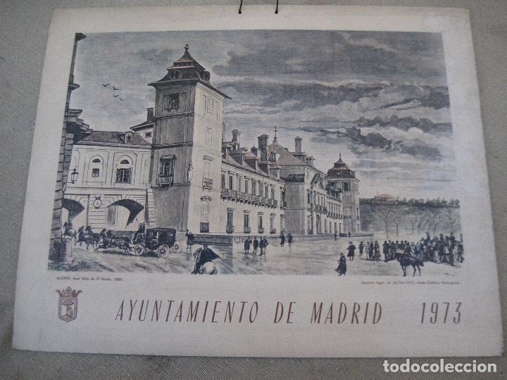 CALENDARIO O ALMANAQUE DE PARED- LAMINA EN CARTON DURO - AYUNTAMIENTO DE MADRID - AÑO 1973. (Arte - Cromolitografía)