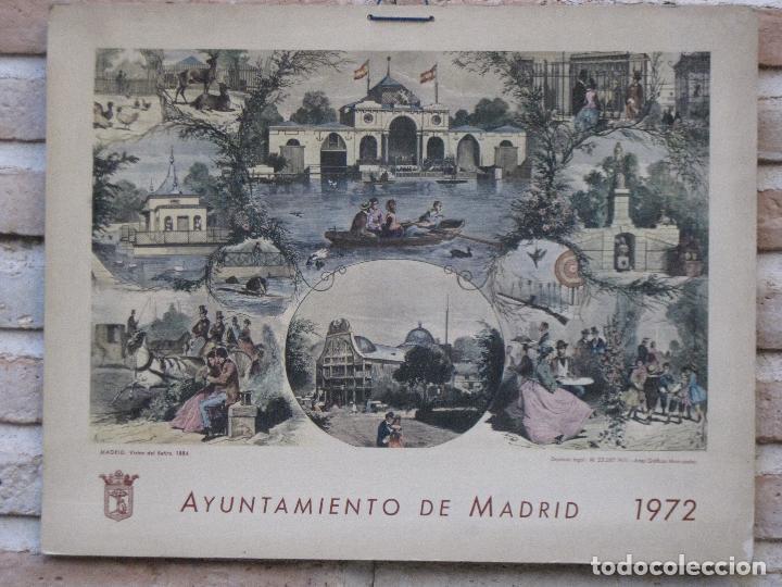 CALENDARIO O ALMANAQUE DE PARED- LAMINA EN CARTON DURO - AYUNTAMIENTO DE MADRID - AÑO 1972. (Arte - Cromolitografía)