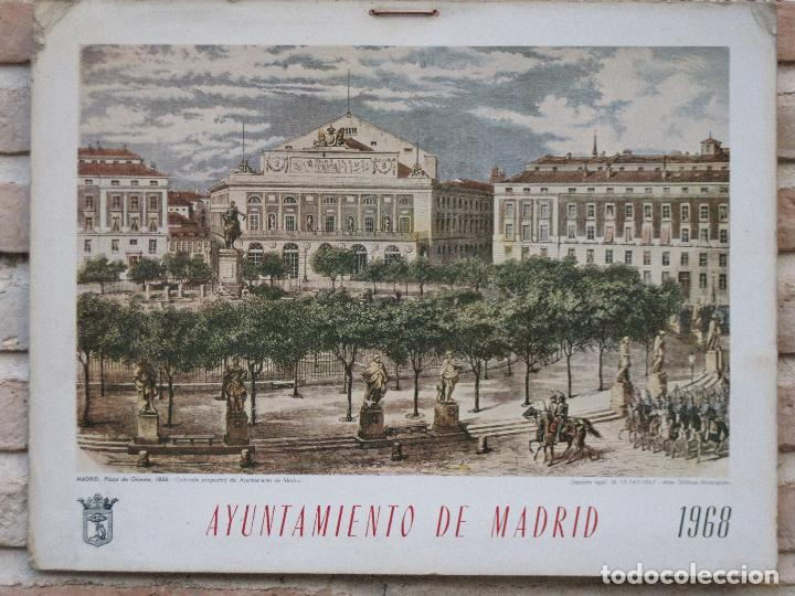 CALENDARIO O ALMANAQUE DE PARED- LAMINA EN CARTON DURO - AYUNTAMIENTO DE MADRID - AÑO 1968. (Arte - Cromolitografía)