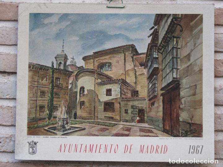 CALENDARIO O ALMANAQUE DE PARED - LAMINA EN CARTON DURO DEL AYUNTAMIENTO DE MADRID - AÑO 1967. (Arte - Cromolitografía)
