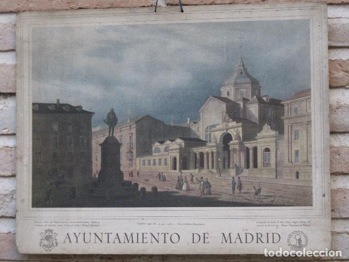 CALENDARIO O ALMANAQUE DE PARED. LAMINA EN CARTON DURO DEL AYUNTAMIENTO DE MADRID - AÑO 1962 (Arte - Cromolitografía)