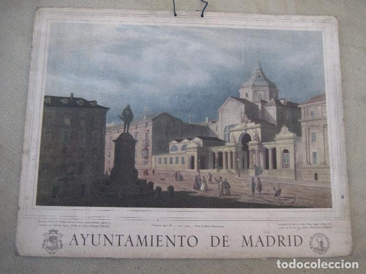 Arte: CALENDARIO O ALMANAQUE DE PARED. LAMINA EN CARTON DURO DEL AYUNTAMIENTO DE MADRID - AÑO 1962 - Foto 2 - 83509880