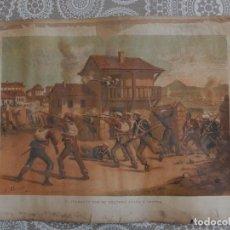 Arte: CROMOLITOGRAFIA - EL SERRADOR CON SU COLUMNA ATACA A LUCENA. Lote 83555776