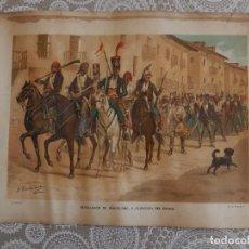 Arte: CROMOLITOGRAFIA - REVOLUCION DE BARCELONA, PUBLICACION DEL BANDO. Lote 83556168