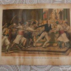 Arte: CROMOLITOGRAFIA -MUERTE DEL JEFE POLITICO DE VALENCIA D. MIGUEL ANTONIO CAMACHO. Lote 83556744