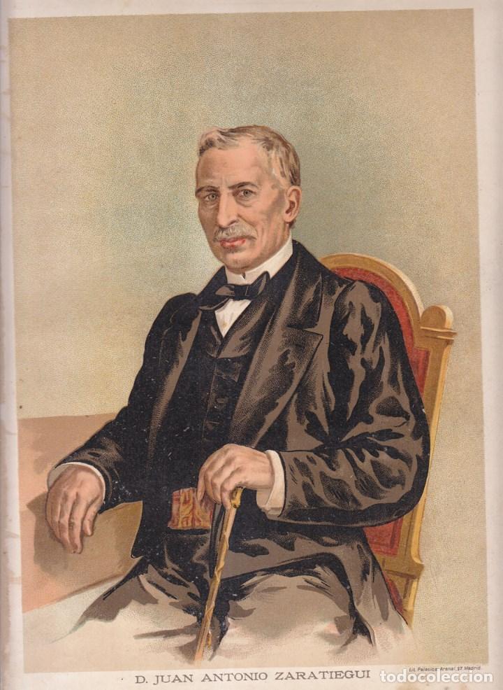 CROMOLITOGRAFÍA. D. JUAN ANTONIO ZARATIEGUI. CARLISMO. 1890. 32,5 X 23,5 CM. OLITE, NAVARRA (Arte - Cromolitografía)