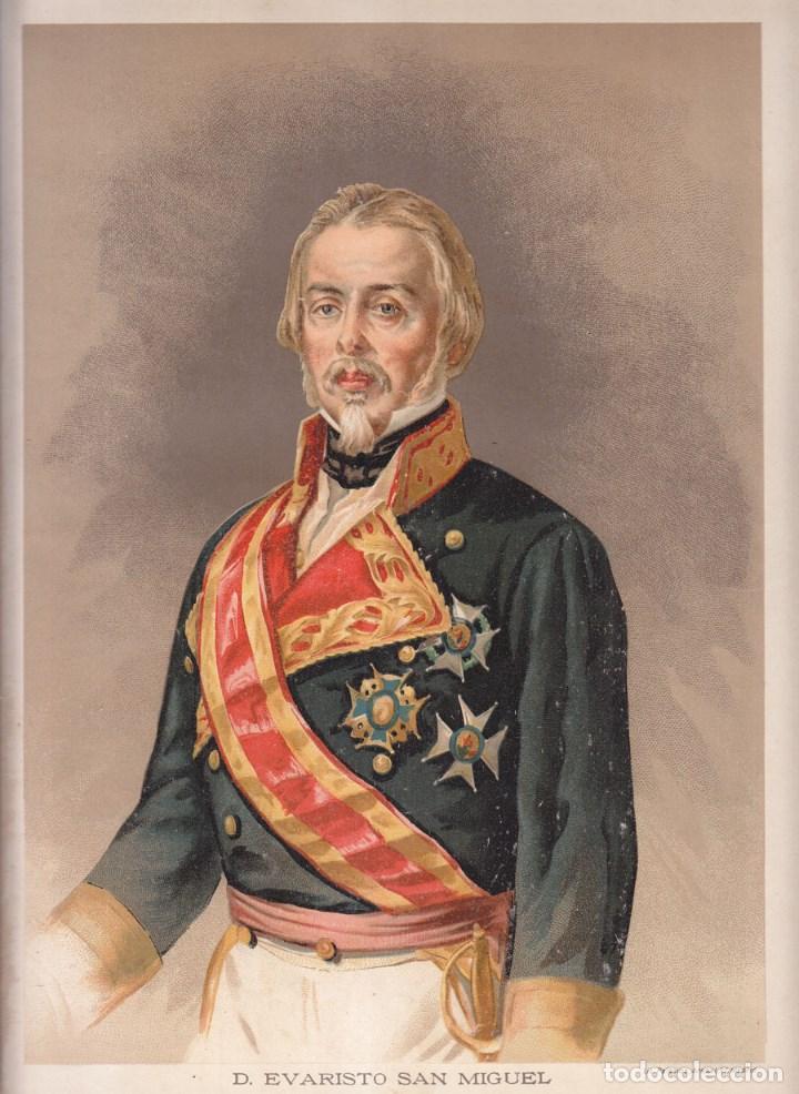 CROMOLITOGRAFÍA. D. EVARISTO SAN MIGUEL. CARLISMO. 1890. 32,5 X 23,5 CM. GIJÓN, ASTURIAS (Arte - Cromolitografía)