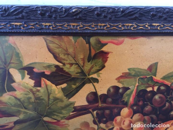 Arte: cromolitografia bodegon frutas melocotones uvas ciruelas manzanas ppio s XX 45x58cms - Foto 3 - 92832090