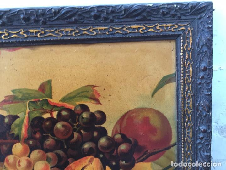 Arte: cromolitografia bodegon frutas melocotones uvas ciruelas manzanas ppio s XX 45x58cms - Foto 4 - 92832090