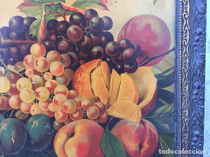 Arte: cromolitografia bodegon frutas melocotones uvas ciruelas manzanas ppio s XX 45x58cms - Foto 5 - 92832090