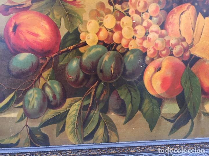 Arte: cromolitografia bodegon frutas melocotones uvas ciruelas manzanas ppio s XX 45x58cms - Foto 6 - 92832090