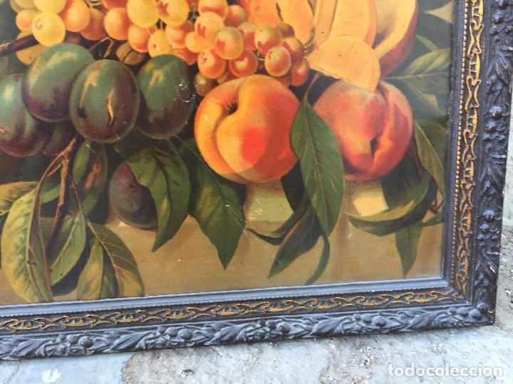 Arte: cromolitografia bodegon frutas melocotones uvas ciruelas manzanas ppio s XX 45x58cms - Foto 7 - 92832090