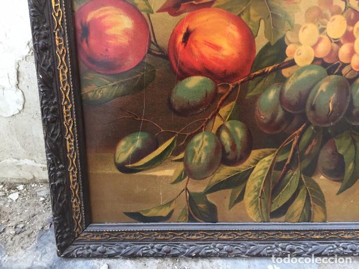 Arte: cromolitografia bodegon frutas melocotones uvas ciruelas manzanas ppio s XX 45x58cms - Foto 8 - 92832090