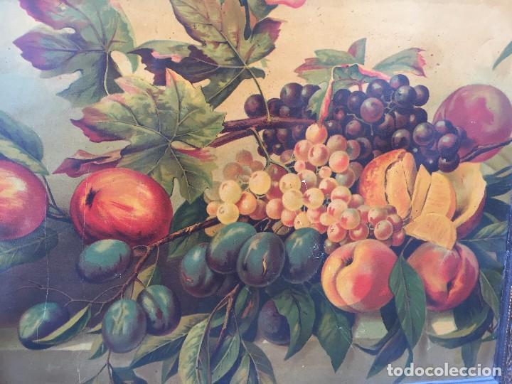 Arte: cromolitografia bodegon frutas melocotones uvas ciruelas manzanas ppio s XX 45x58cms - Foto 9 - 92832090