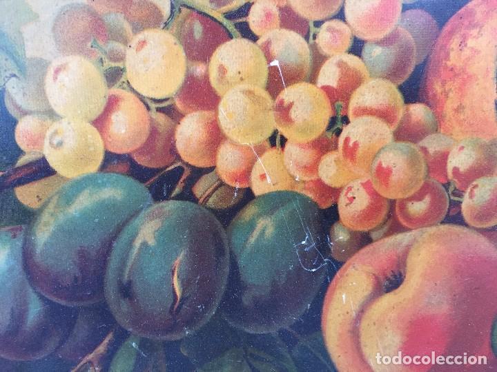 Arte: cromolitografia bodegon frutas melocotones uvas ciruelas manzanas ppio s XX 45x58cms - Foto 10 - 92832090