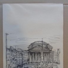 Arte: FERNANDO CHUECA GOITIA (MADRID 1911-2004) REPRODUCCIÓN 25X34 ROMA 1968 EDICI 180/325 PLAZA PANTHEON. Lote 96066719