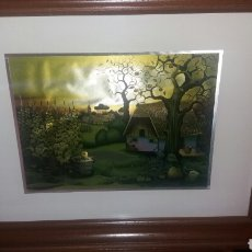 Arte: CUADRO DE PAISAJE DE CASERIO. Lote 99788050