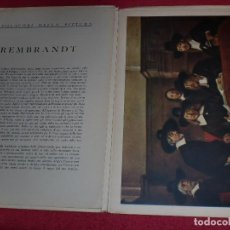 Arte: CROMOLITOGRAFÍA REMBRANDT -AÑO 1941- -FORMA PARTE DE CAPOLAVORI DELLA PITTURA- GRAN FORMATO. Lote 100657471