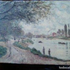 Arte: CLAUDIO MONET, PAISAGE CON RÍO, CROMOLITOGRAFIA PEGADA A TABLERO.. Lote 102682811