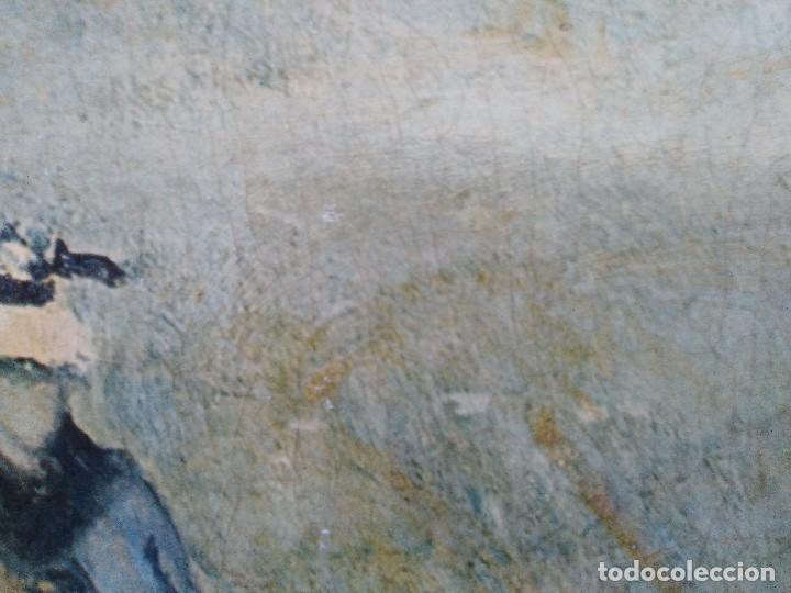 Arte: Claudio Monet paseo en el campo, cromolitografia pegada a cartón piedra. - Foto 3 - 102685287