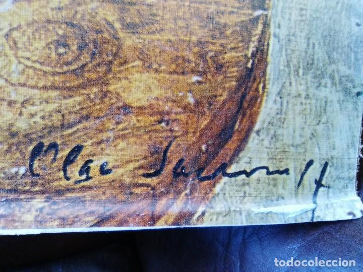 Arte: Bodegón de flores firmado cromolitografia pegada en cartón piedra. - Foto 2 - 102687883