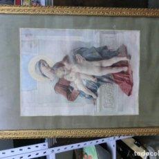 Arte: CUADRO DE LA VIRGEN CON NIÑO DE CROMOLITOGRAFIA. Lote 102835247