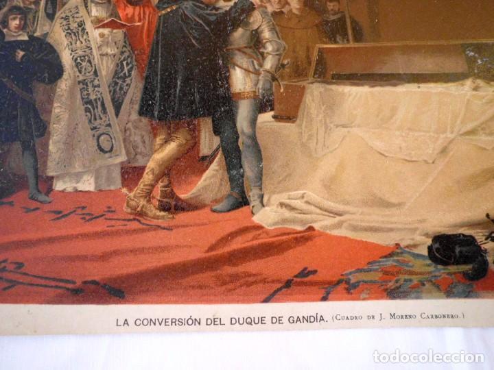 Arte: Cromolitografía La conversión del duque de Gandía - Foto 3 - 104906779