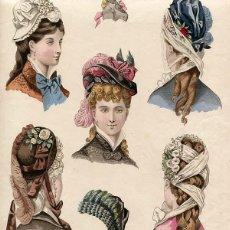 Arte: LAMINA CROMOLITOGRAFÍA SOMBREROS Y TOCADOS AÑO 1876 LA SAISON PARIS. Lote 108255911