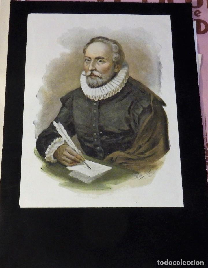 ANTIGUA CROMOLITOGRAFIA DE MIGUEL DE CERVANTES SAAVEDRA, 12X17 CMS (Arte - Cromolitografía)