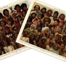 Arte: LOTE DOS CROMOLITOGRAFÍAS SIGLO XIX PUEBLOS ASIÁTICOS PUEBLOS AMERICANOS ANTROPOLOGÍA ETNOLOGÍA. Lote 110127059