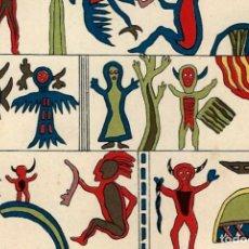 Arte: SISTEMA DE ESCRITURA CULTURA OJIBWE NATIVO AMERICANA CROMOLITOGRAFÍA ORIGINAL S XIX. Lote 112065271