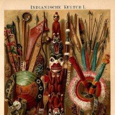 Arte: ELEMENTOS CULTURALES AMERINDIOS FOLKLORE AMERICANO TÓTEMS ARMAS VESTIDURAS UTENSILIOS. Lote 112337383
