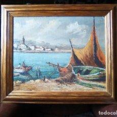 Arte: PAISAGE MARINO CON RETOQUES EN ÓLEO, CROMOLITOGRAFIA.. Lote 112434447