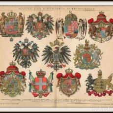 Arte: HERÁLDICA ESCUDOS DE ARMAS BLASONES NACIONES EUROPEAS ESPAÑA AUSTRIAHUNGRÍA IMPERIO ALEMÁN SIGLO XIX. Lote 113153271