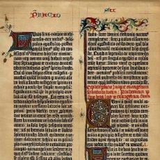 Arte: FACSIMIL DE UNA PÁGINA DE LA BIBLIA DE GUTENBERG DE 1455 SIGLO XIX MINIATURAS ORNAMENTOS. Lote 118304596